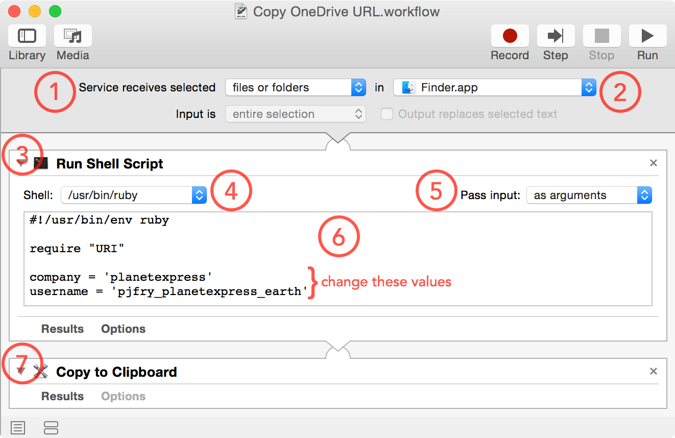 screenshot of completed service workflow